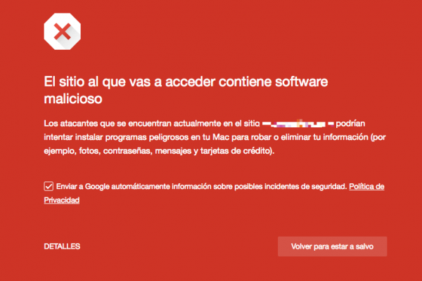 Web bloqueada por Google